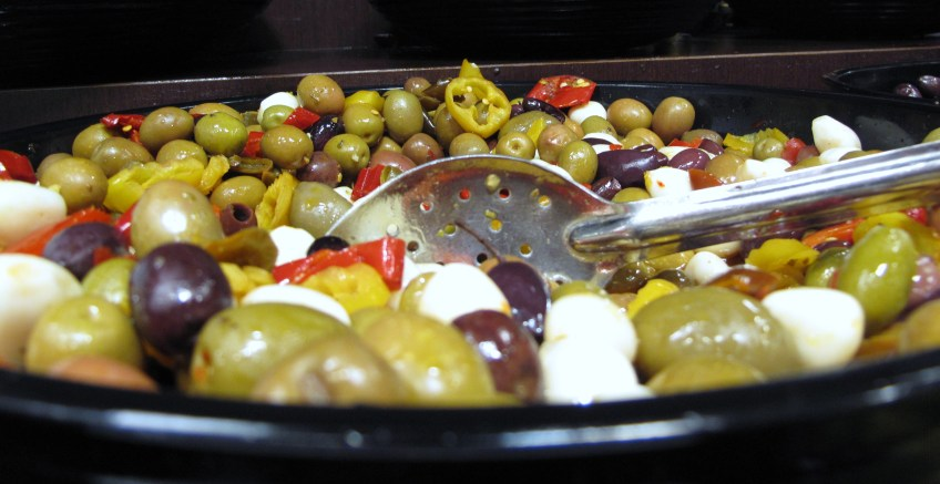 mixed olives and garlic