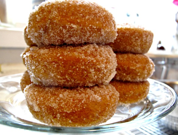 side view sugared donuts
