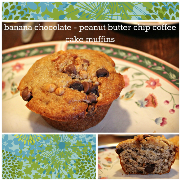 banana chocolate - peanut butter chip coffee cake muffins