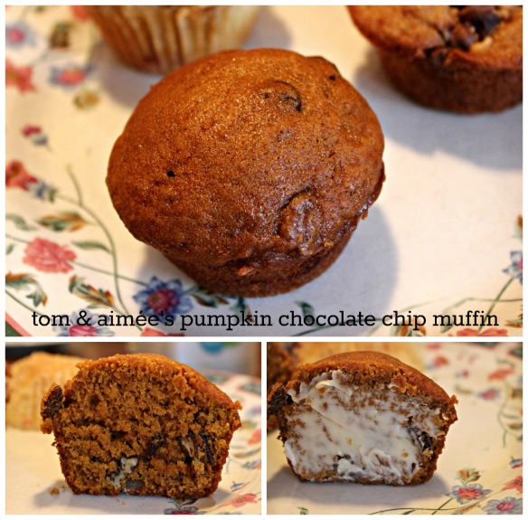 tom & aimee's pumpkin chocolate chip muffin