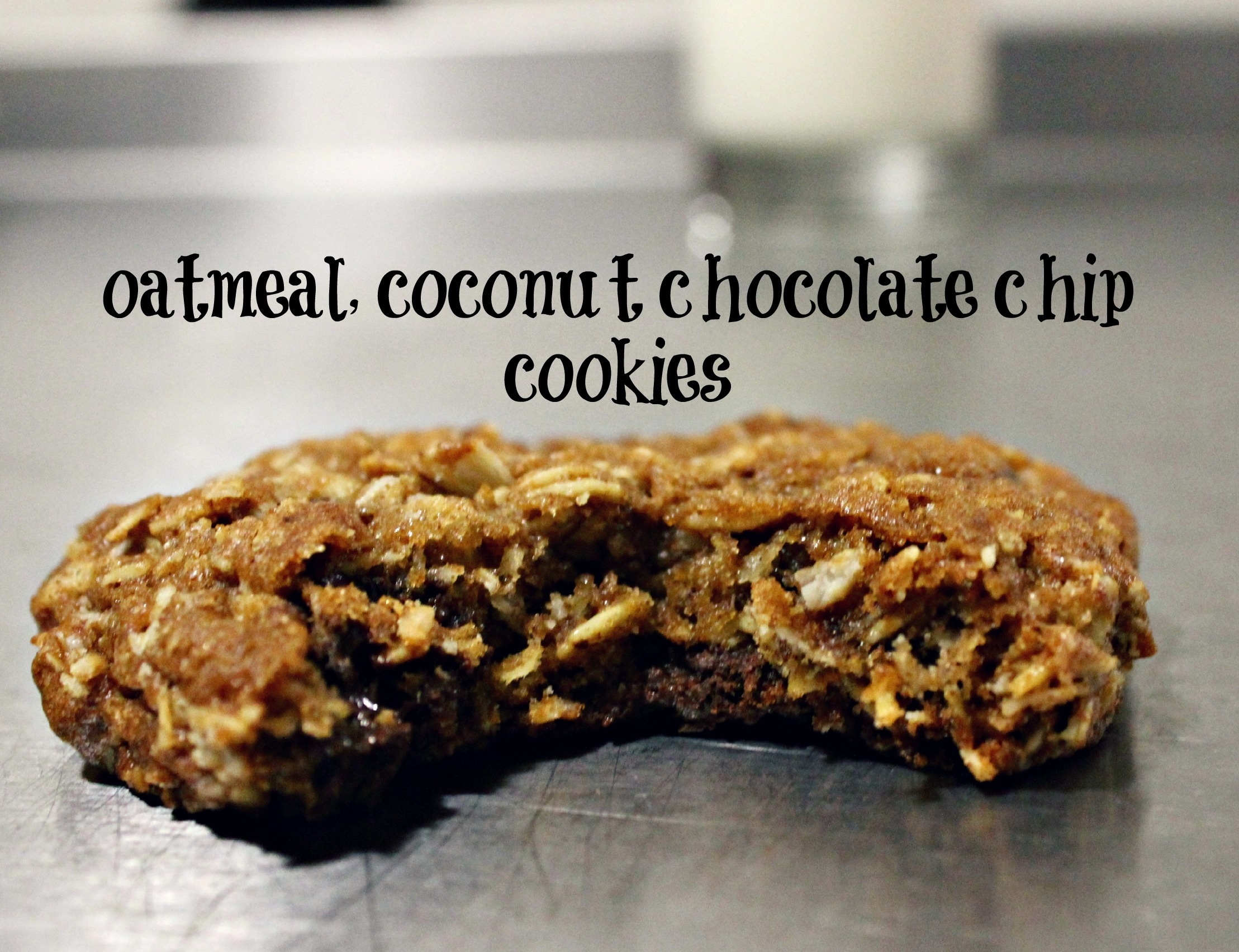 oatmeal, coconut, chocolate-chip cookies